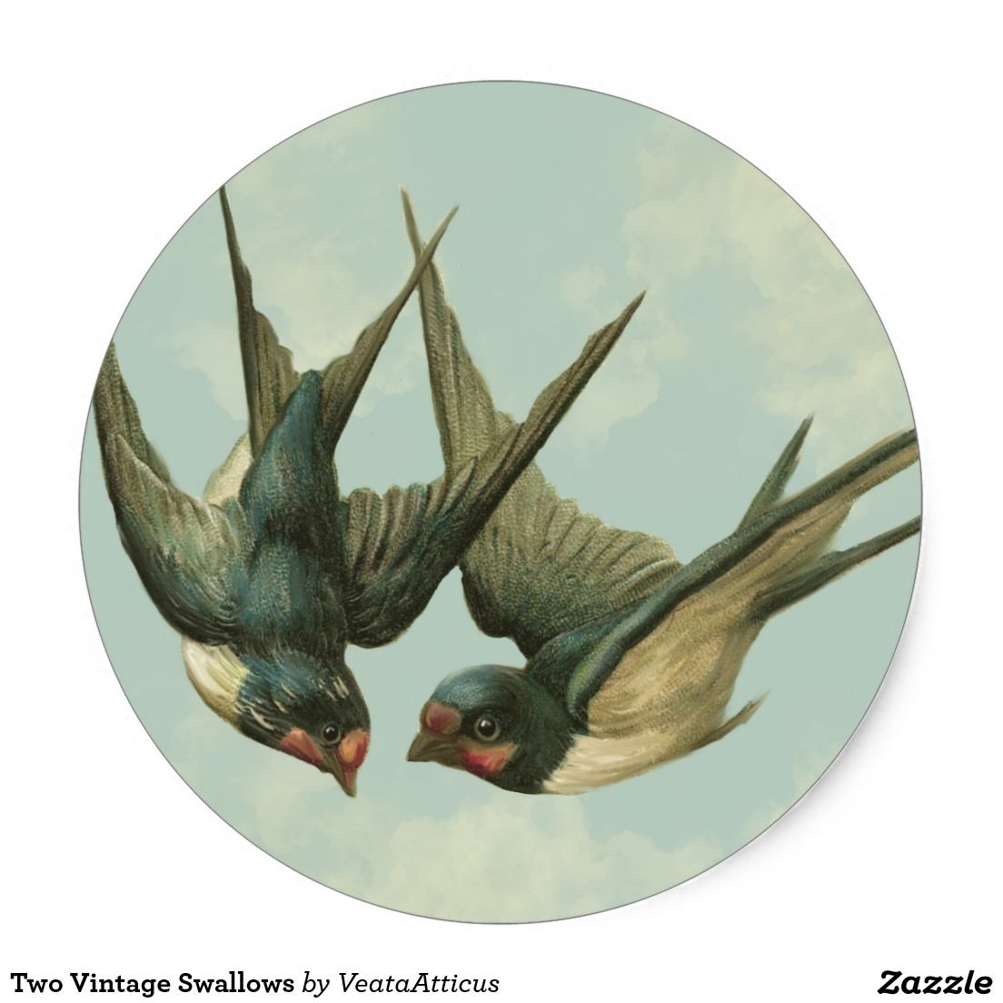 Two Vintage Swallows Classic Round Sticker