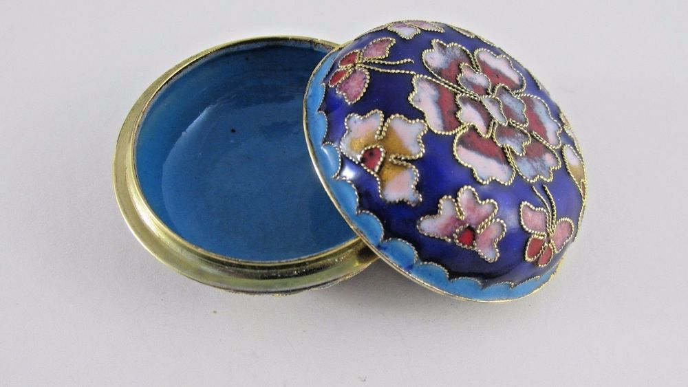 Oriental Beijing Enamel Cloisonne Small Trinket Box Covered Jewelry Dish Bowl