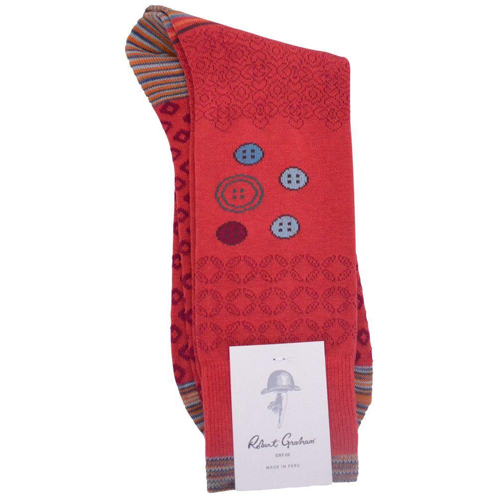 Robert Graham Mens Red Albion Socks