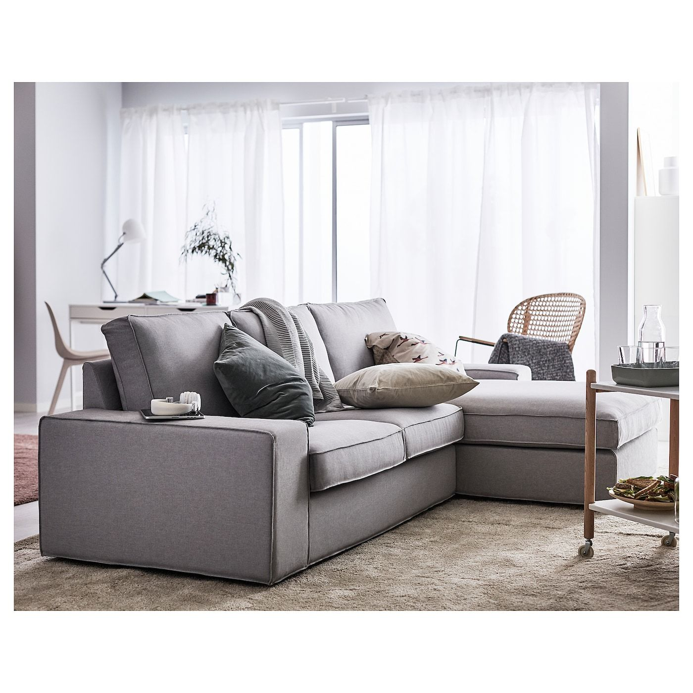 Kivik Sofa With Chaise Orrsta Light Gray Ikea In 2020 Kivik Sofa Ikea Sofa Couch With Chaise
