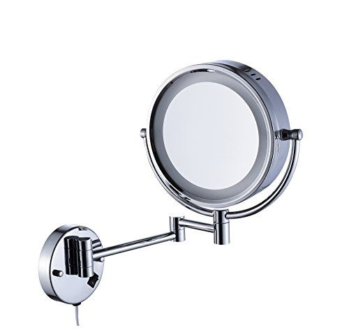 Cavoli Makeup Mirror With Led Light Wall Mount 5x Magnification Chrome Finish 9 Inch 5x Led Wall Mounted Makeup Mirror Mirror With Led Lights Makeup Mirror