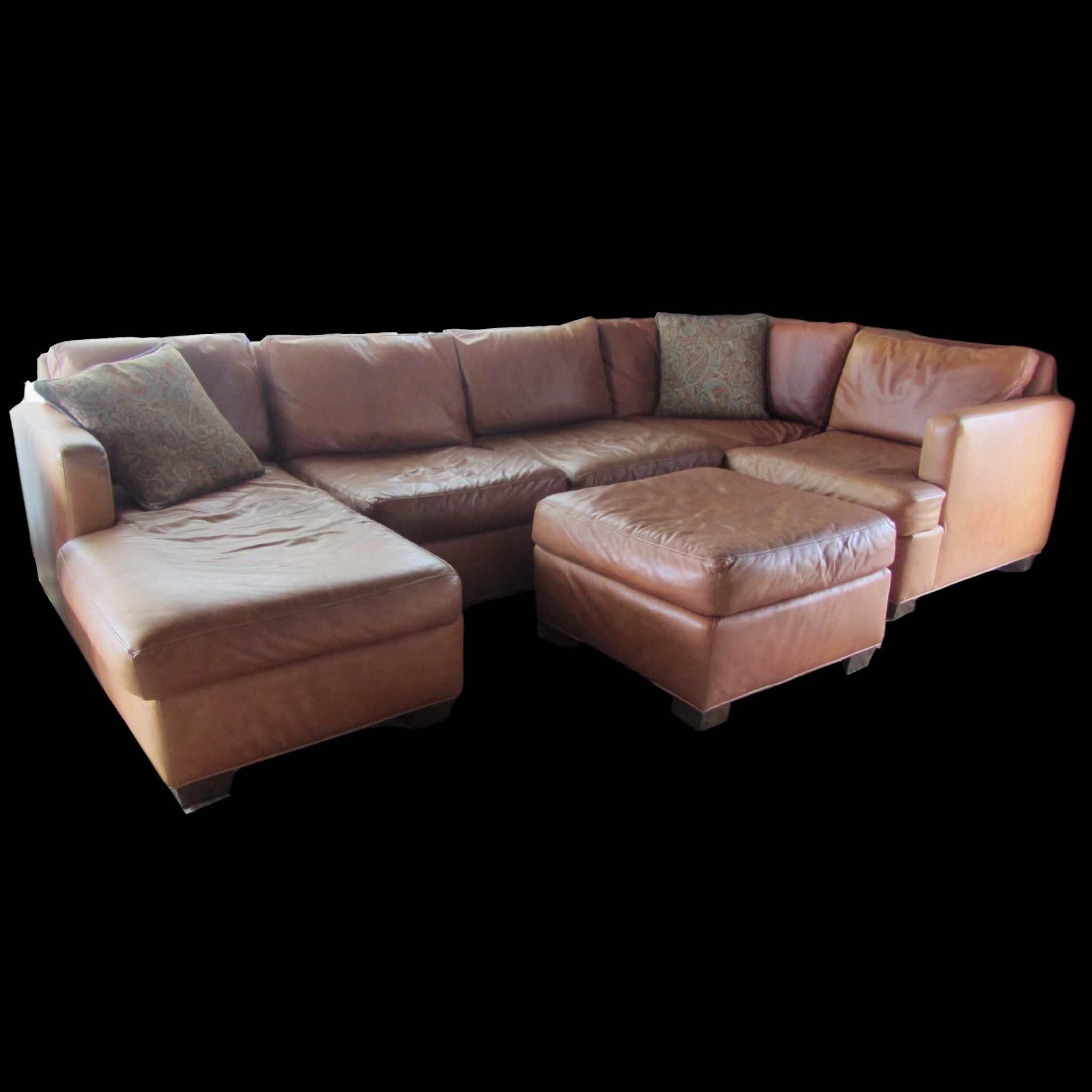 Custom Saddle Leather Sectional & Ottoman $2998 00