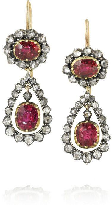 e5bfc92873927 Olivia Collings 1840s 18-karat gold, ruby and diamond earrings on ...