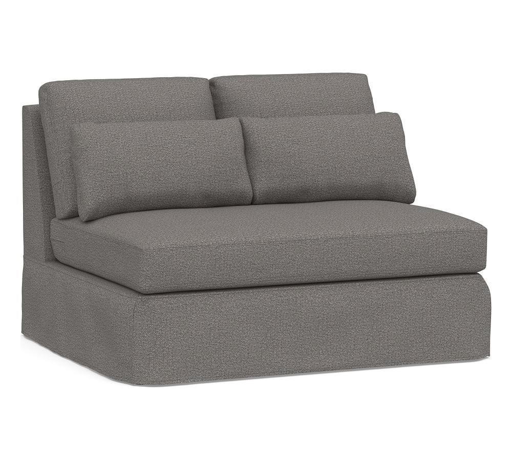 York deep seat armless loveseat with bench cushion slipcover performance chateau basketweave blue