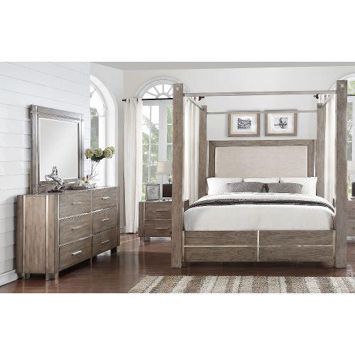 Gray Silver Contemporary 7 Piece Queen Canopy Bedroom Set Buena Vista