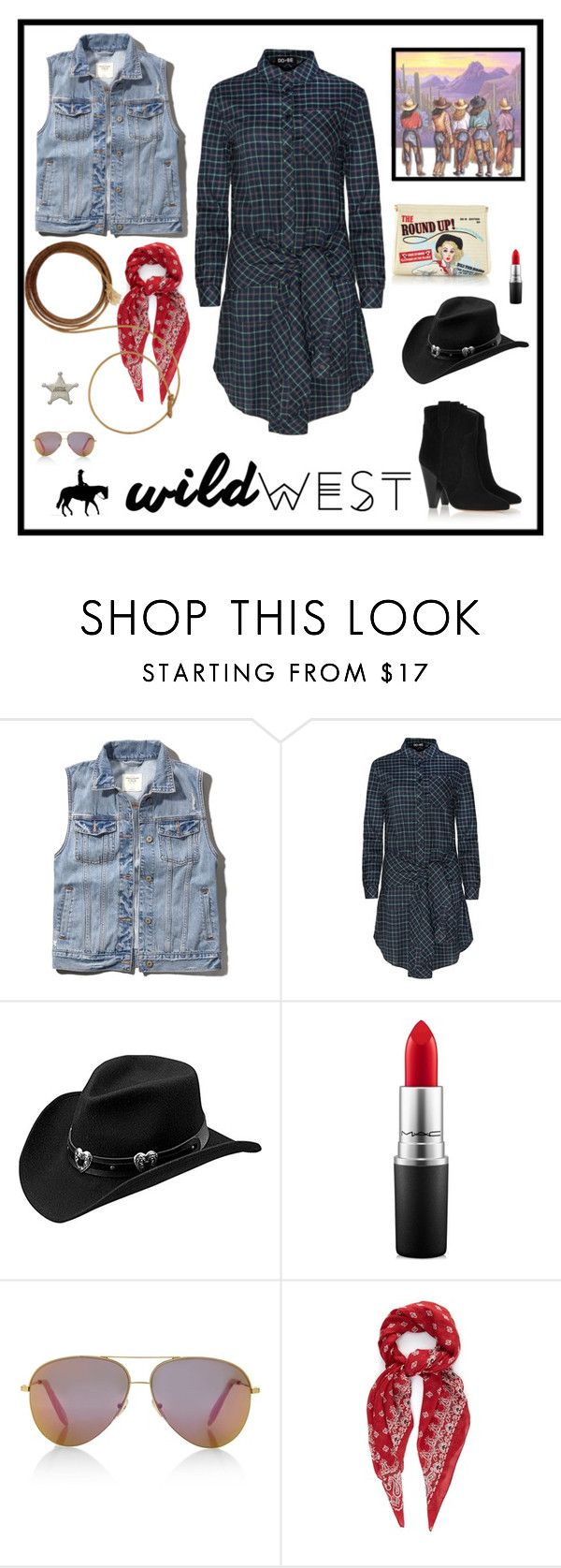 """""""Wild West Style"""" by humblechick1 on Polyvore featuring Abercrombie & Fitch, Master Hatters of Texas, Charlotte Olympia, MAC Cosmetics, Victoria, Victoria Beckham, Yves Saint Laurent, Isabel Marant and wildwest"""