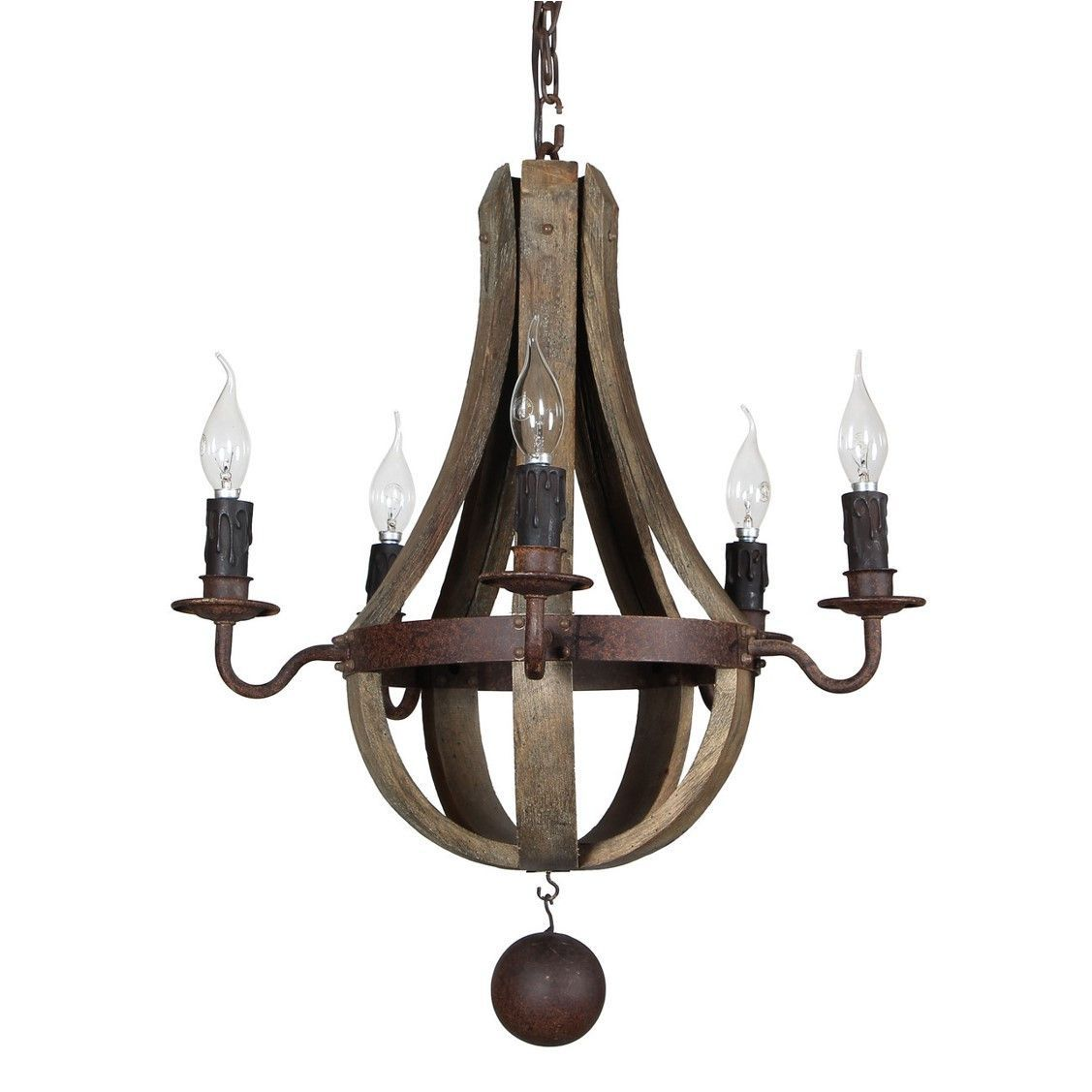 Cottage Living Rooms Quality: Iron And Wood Elena Wine Barrel Chandelier Terracotta