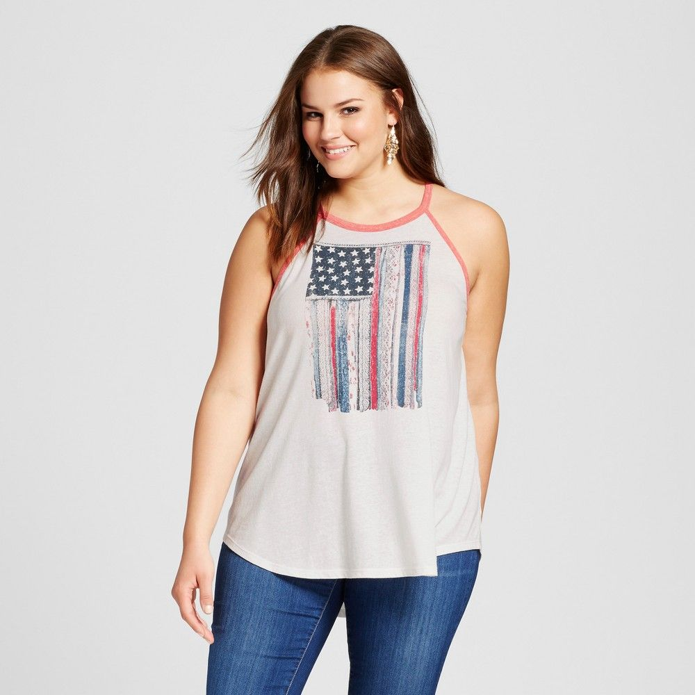 women's plus size american flag tank top white 2x - born famous
