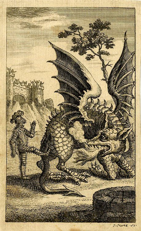 """Scene from the ballad """"The Dragon of Wentley"""" Print made by John June c. 1744"""