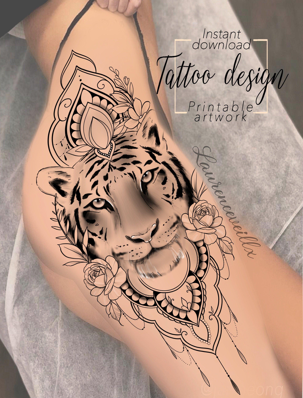 Tattoo Design Tiger Mandala Flowers Digital Female Floral Print Design Tattoo For Hip Or Back Thigh Unique Woman Tattoo Art In 2020 Half Sleeve Tattoo Sleeve Tattoos Sleeve Tattoos For Women