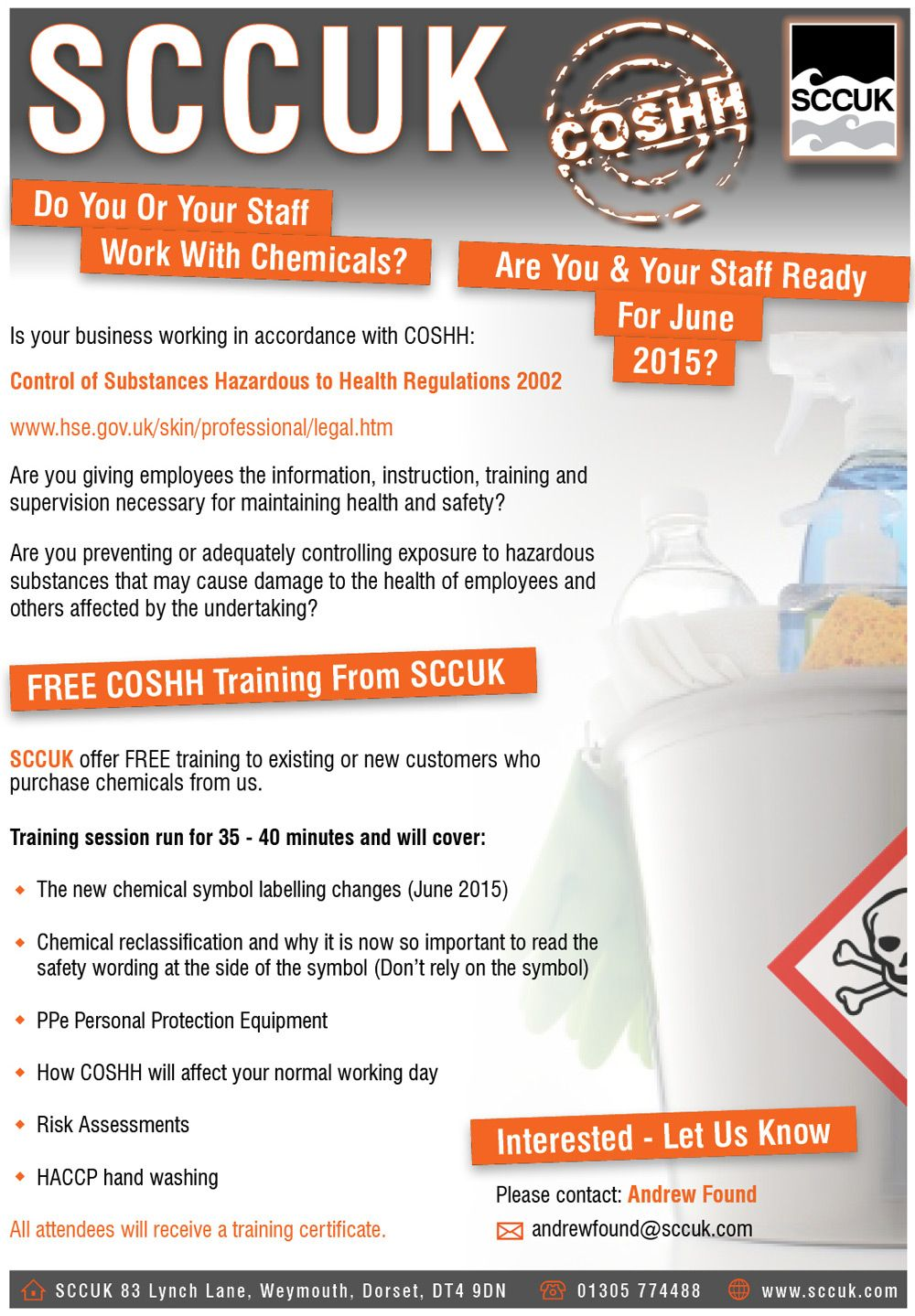 SCCUK now offer COSHH training FREE to customers who
