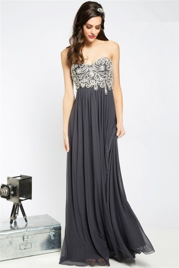 ef67069336a Elegant Sweetheart Empire Waist Charcoal Grey Chiffon Beaded Long Prom Dress  With Draping