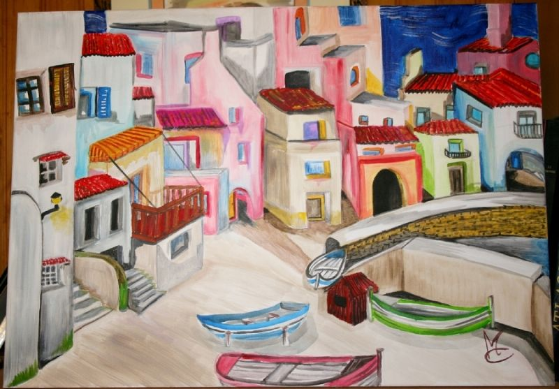 Village acrylique by Mae Maevina