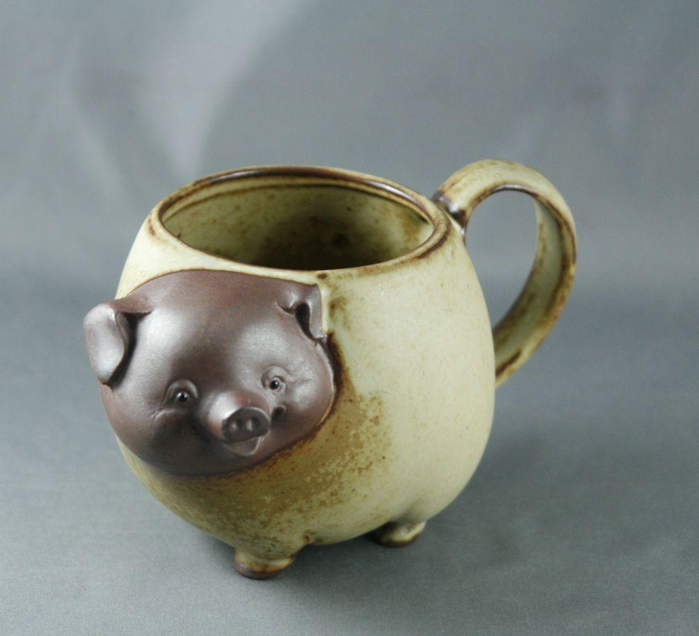 Vtg Giftcraft Happy Pig Mug Cup Japan Stoneware Figural Coffee Tea Mugs Stoneware Ceramics Stoneware