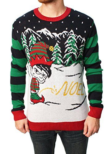 ef221aa4640 Ugly Christmas Sweater Men s Naughty Elf Noel Pee in the Snow Pullover