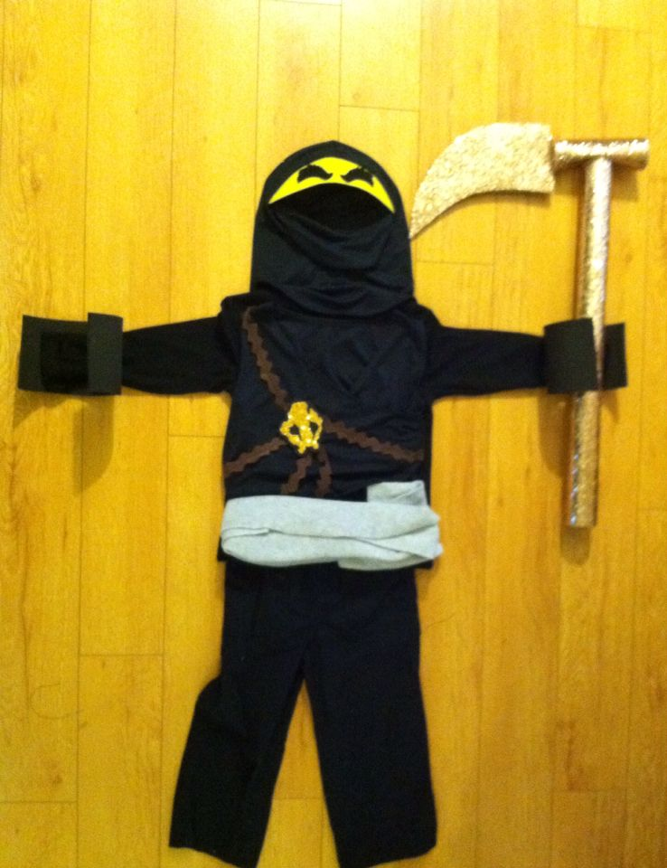 So I made Loganu0027s  Cole  Ninjago costume this year. Toddler friendly ! Even made his Golden Weapon. & So I made Loganu0027s