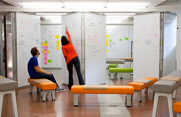 Whiteboard voor scrum, informeel overleg,-leren, effectievere communicatie en versnelling van de organisatie.