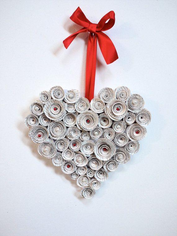 Herz Vintage Buches Papier Kranz Upcycled Buch Dekoration Valentinstag Papier Blume Tur Kranz Recycling Pap Valentinstag Basteln Papierkranz Valentinstag