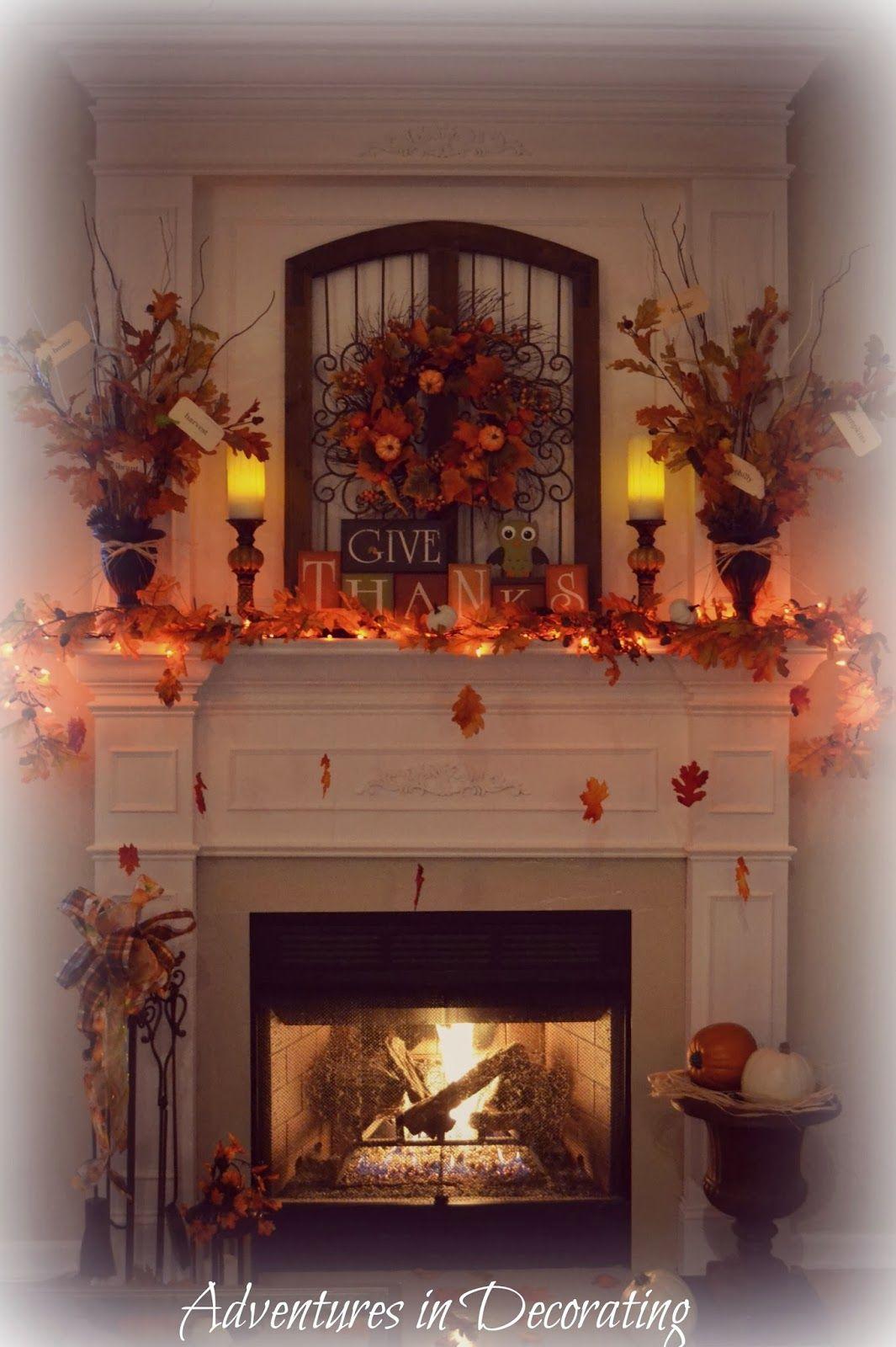 Add Lights Fall Mantel Decorations Fall Fireplace Fall