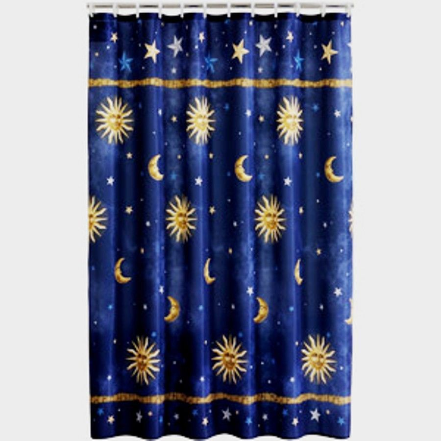 Shower Curtain With Stars Sun Moon Star Fabric Shower Curtain 70 X 71 Dark Blue Gold Shower Curtains Walmart Fabric Shower Curtains Shower Curtain