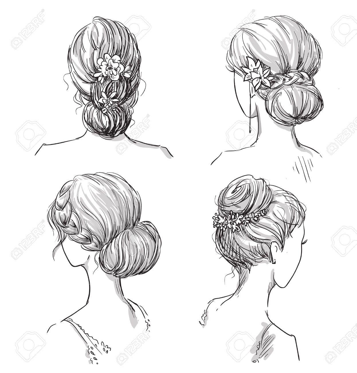 Hairstyle Stock Illustrations Cliparts And Royalty Free Hairstyle Frisuren Zeichnen Haare Skizze Haare Zeichnen