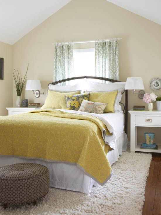 Yellow Bedrooms We Love Brown ottoman, Yellow bed and