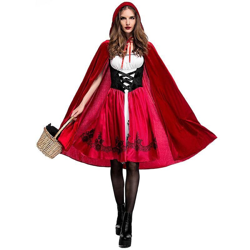Women Little Red Riding Hood Costume Cosplay Fairy Tale Fancy Dress Halloween