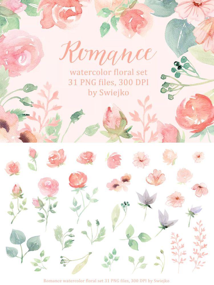 Romantic Watercolor Flowers By Swiejko On Watercolor Flowers