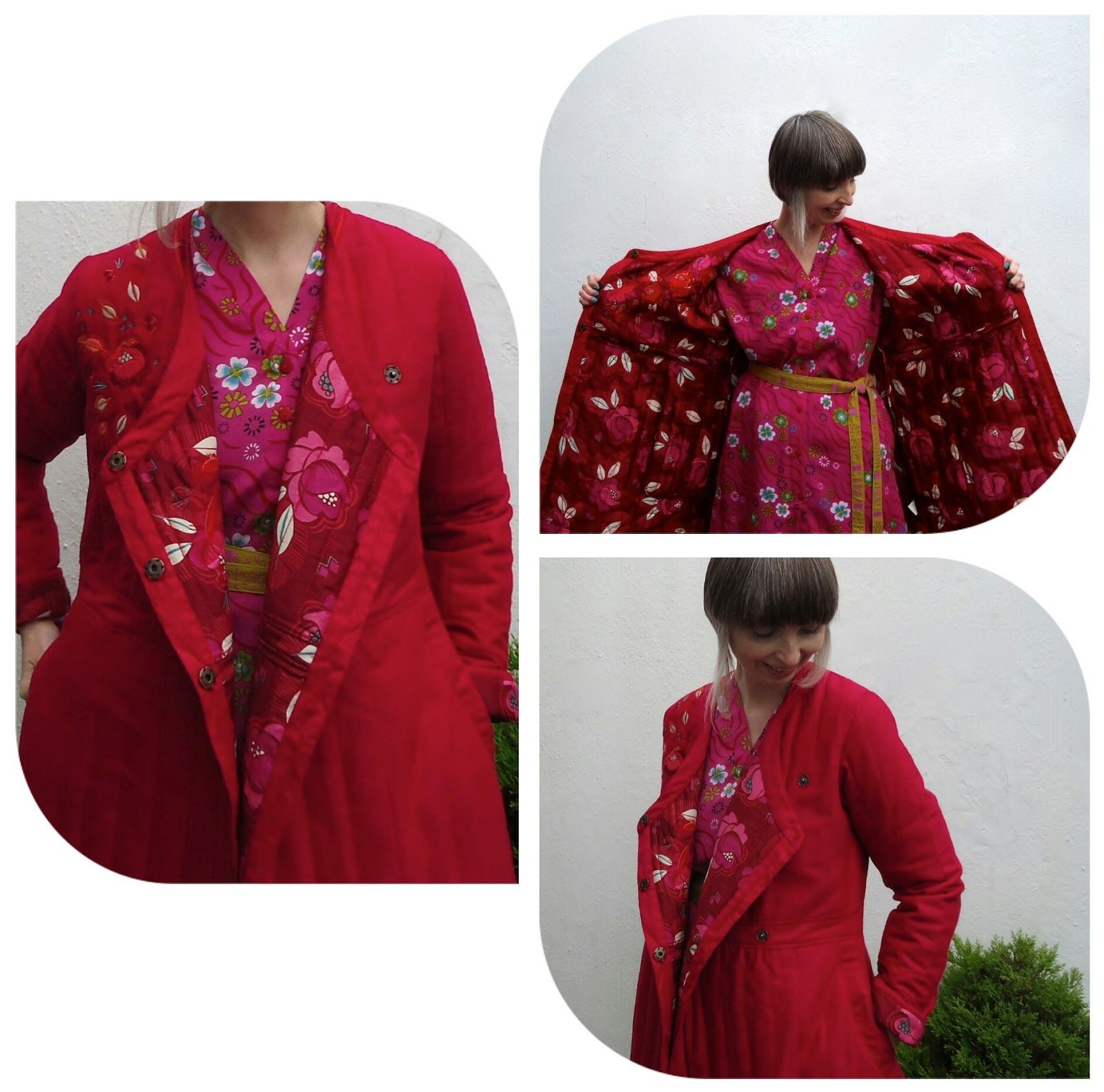 Inside the Li Wei coat is lined with Xiang bright rose print
