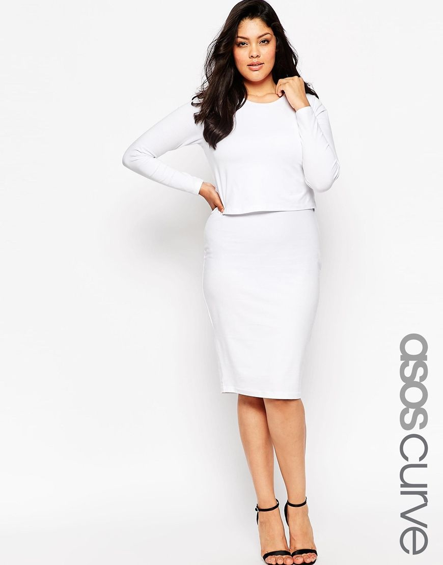 cbadf6db4eb ASOS CURVE Midi Body-Conscious Dress In Cotton Modal With Double Layer