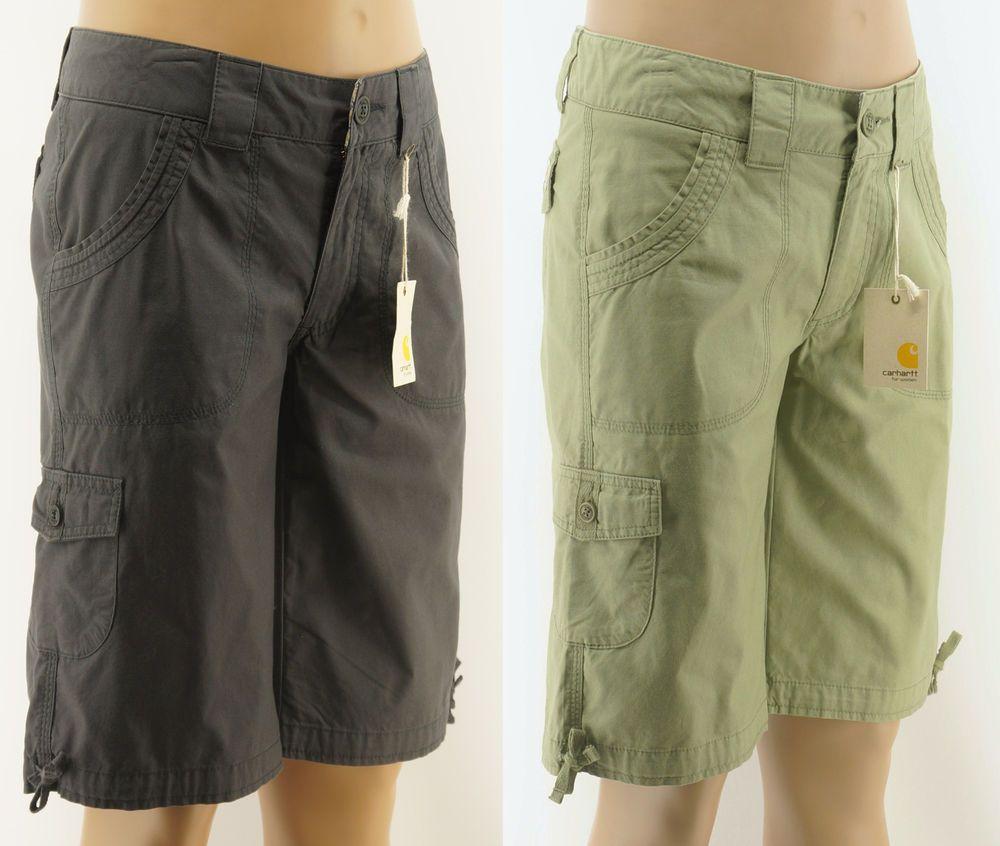 0fcf38d66 Details about Carhartt Women's Green Bermuda 6 Pocket Cargo Shorts ...