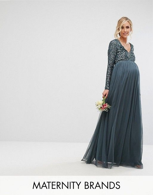74e17ab844c0 Maya Maternity   Maya Maternity Plunge Front Long Sleeve Maxi Dress In Tonal  Delicate Sequin And Tulle Skirt