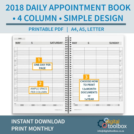 2018 4 column salon diary daily appointment book printable monthly