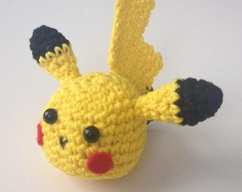 Amigurumi Patterns Pikachu : Pattern pikachu keychain crochet crochet pikachu head amigurumi