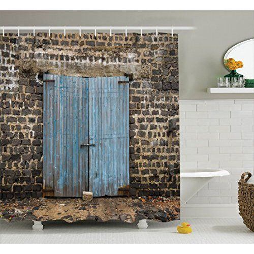 Rustic Shower Curtain By Ambesonne Old Wooden Barn Door Of