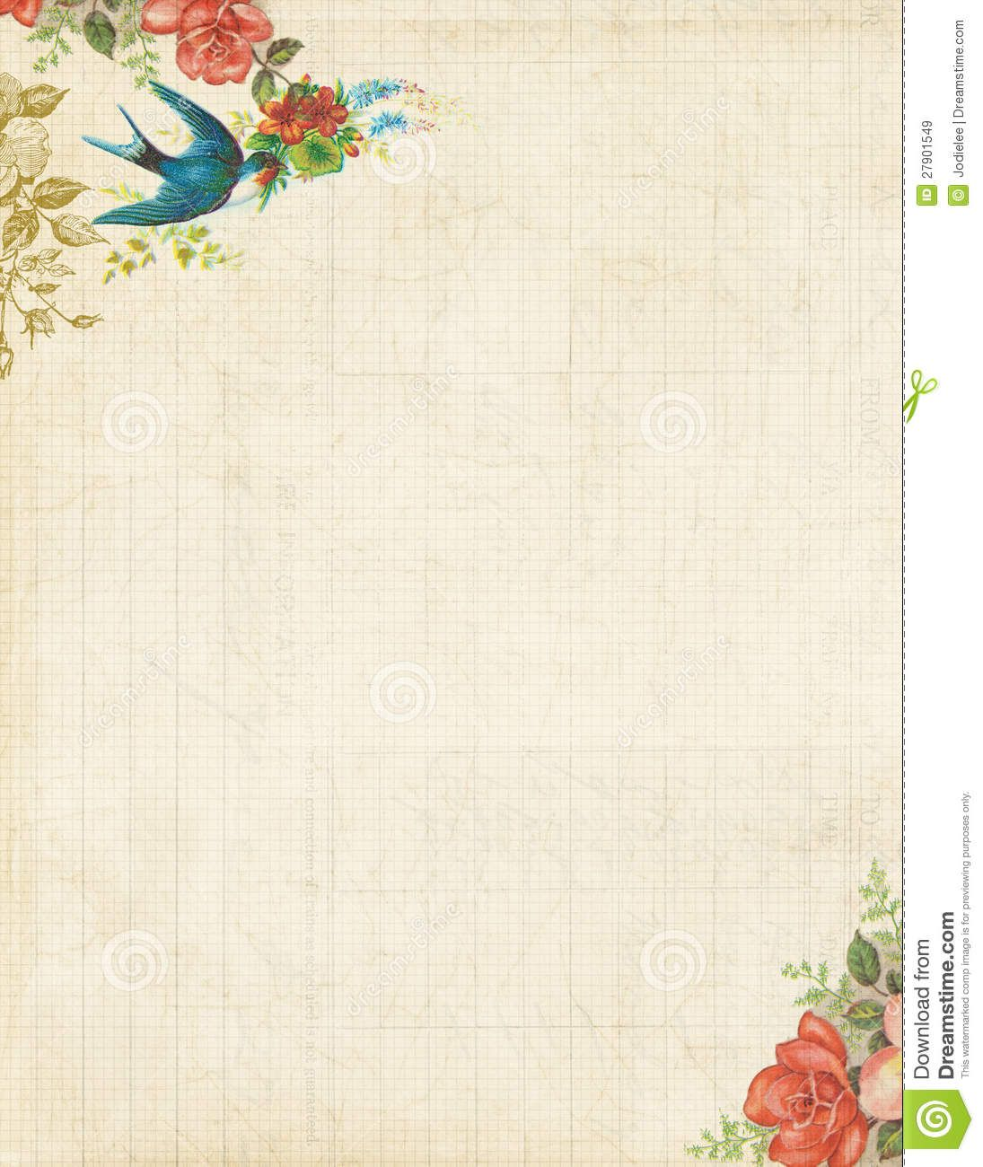 Printable vintage bird and roses stationary or background