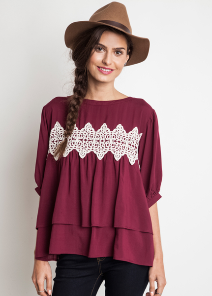 bfdc9e65daa ... wholesale fashion clothing   accessories. Burgundy Lace Baby Doll Top -  Umgee – Thistle   Finn