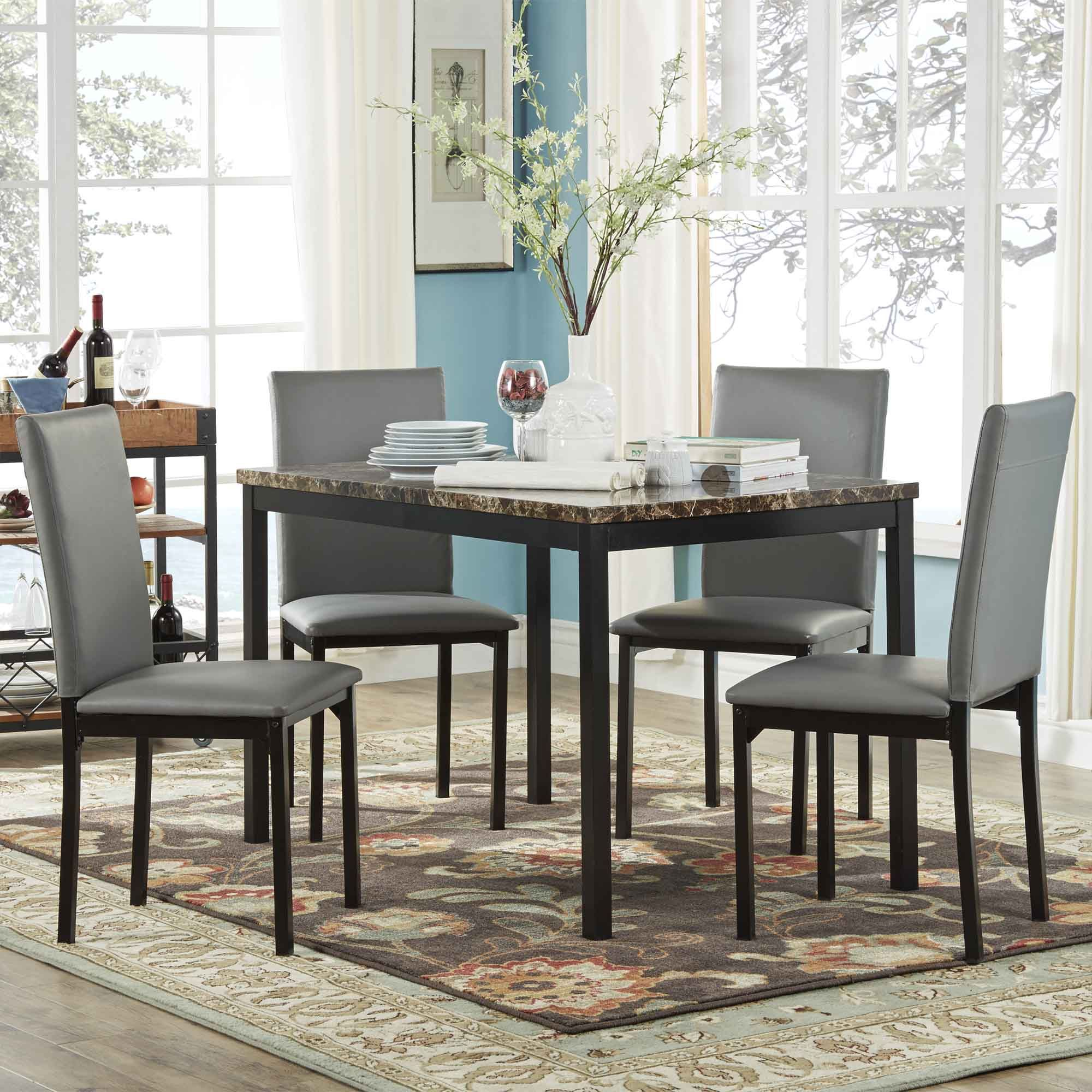Ordinaire Oxford Creek Mio Faux Marble 5 Piece Casual Dining Set, Black
