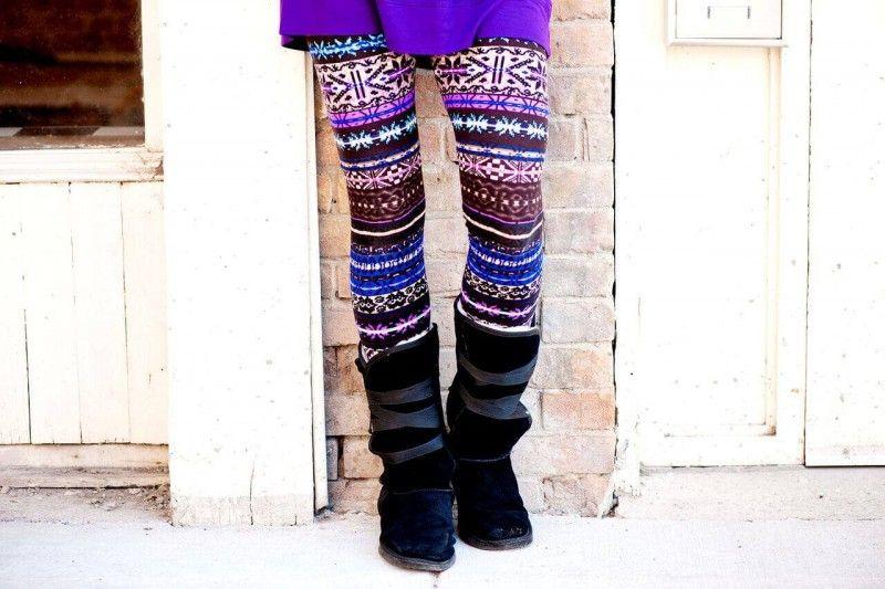 Agnes & Dora - Fair Isle Sunset Legging SM Fun Purple Blue Winter ...