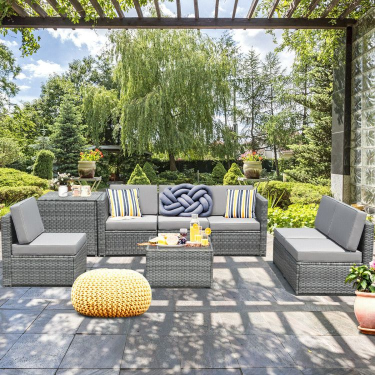 Patio Set Outdoor, Dineli Patio Furniture Sectional Sofa With Gas Fire Pit Table Ou