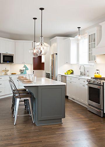 Dark Gray Contrasting Island In White Kitchen Dream Kitchens