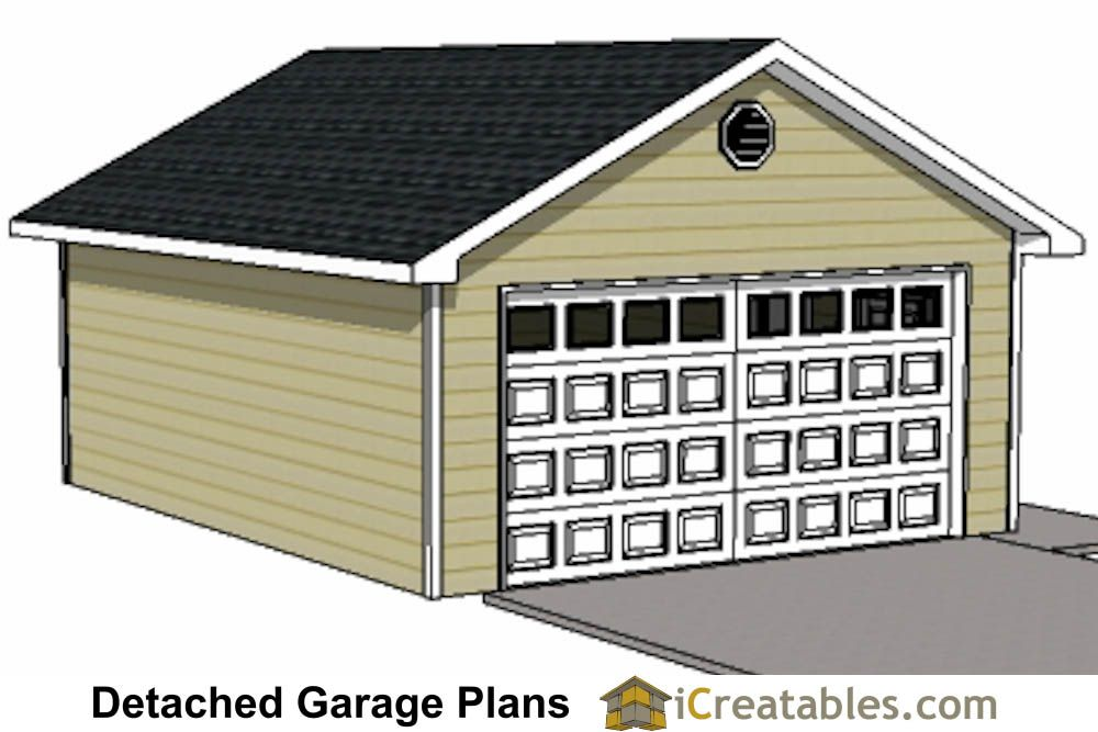 20x24 1 Car Detached Garage Plans Download And Build in
