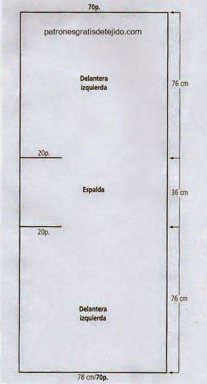 Como tejer un chaleco rectangular en una sola pieza utilizando ...