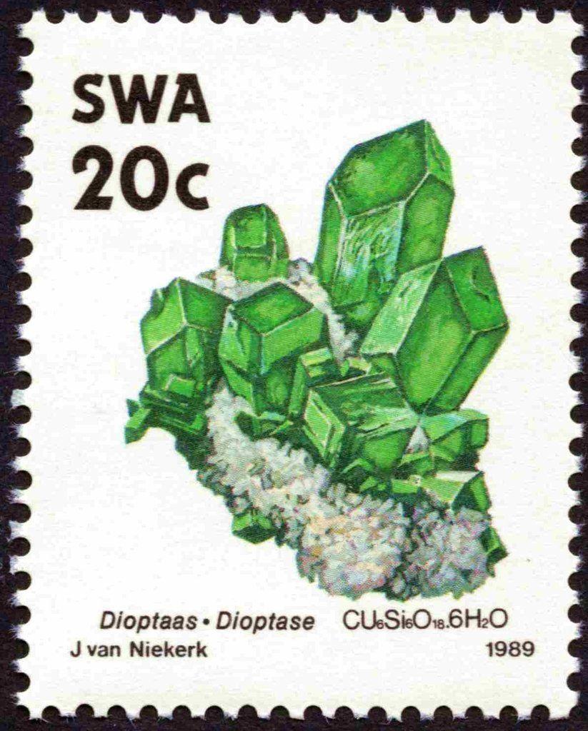 Stamp Dioptase South West Africa Minerals Mi Na Sw 655 Sn Na Sw 632 Yt Na Sw 612 Minerals Stamp Postage Stamps