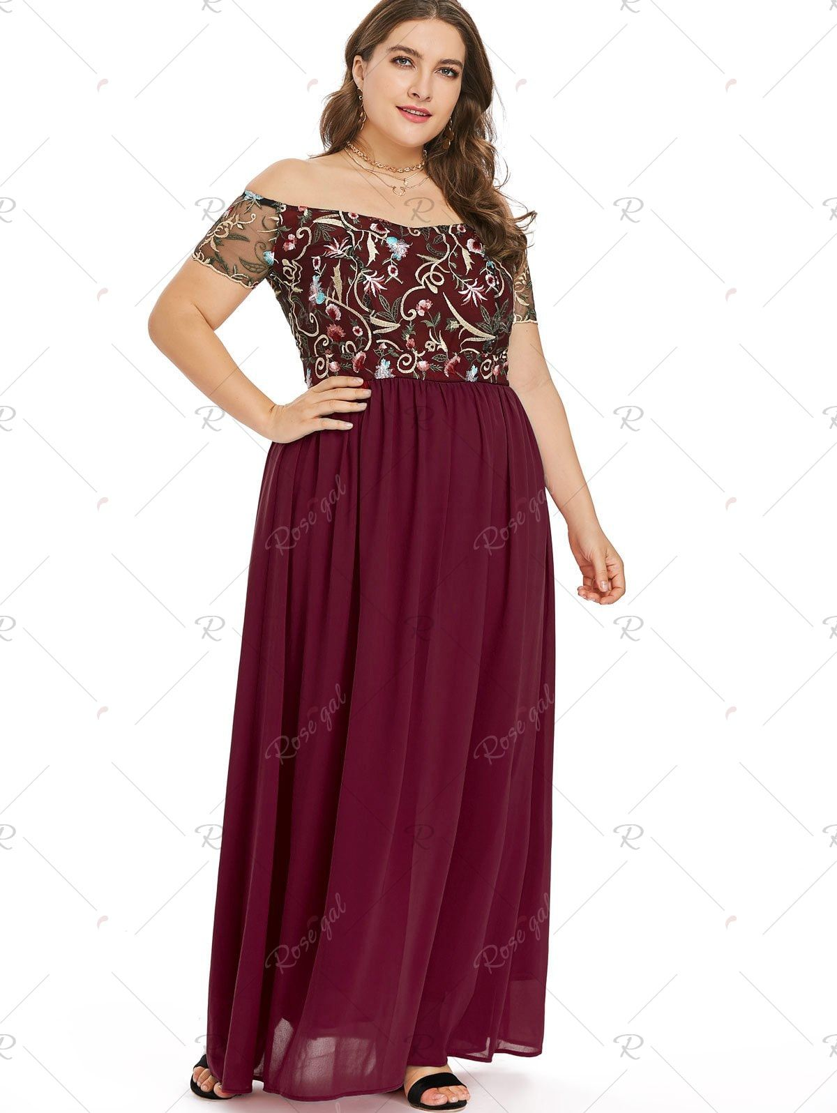fbde88cda1 Rosegal Off The Shoulder Plus Size Embroidery Maxi Dress
