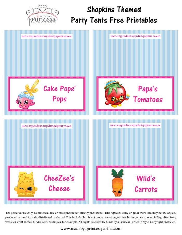 picture regarding Free Printable Shopkins Food Labels called Totally free Printable Food stuff Tents Milk And Cookie Birthday Celebration
