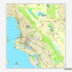 Oakland + Berkeley map V2, California, US printable vector street ...