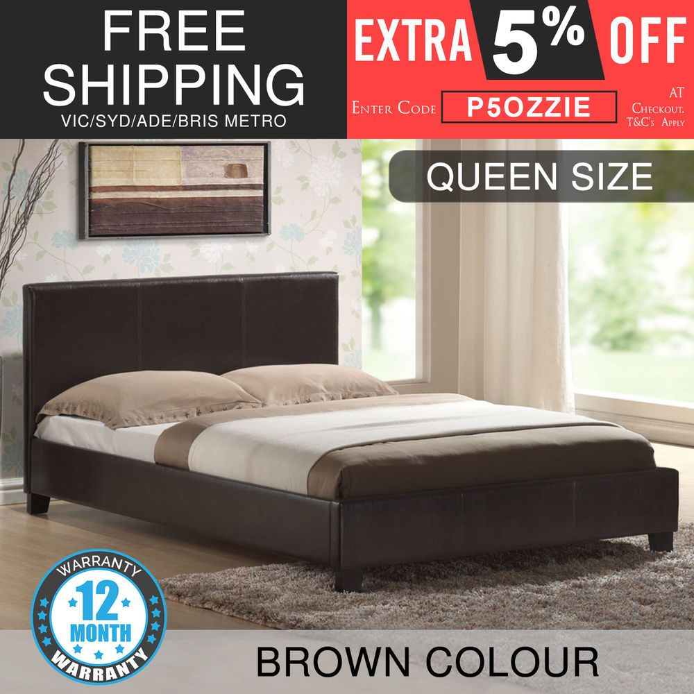 bed frame queen size pu leather wooden slat base deluxe brown coffee