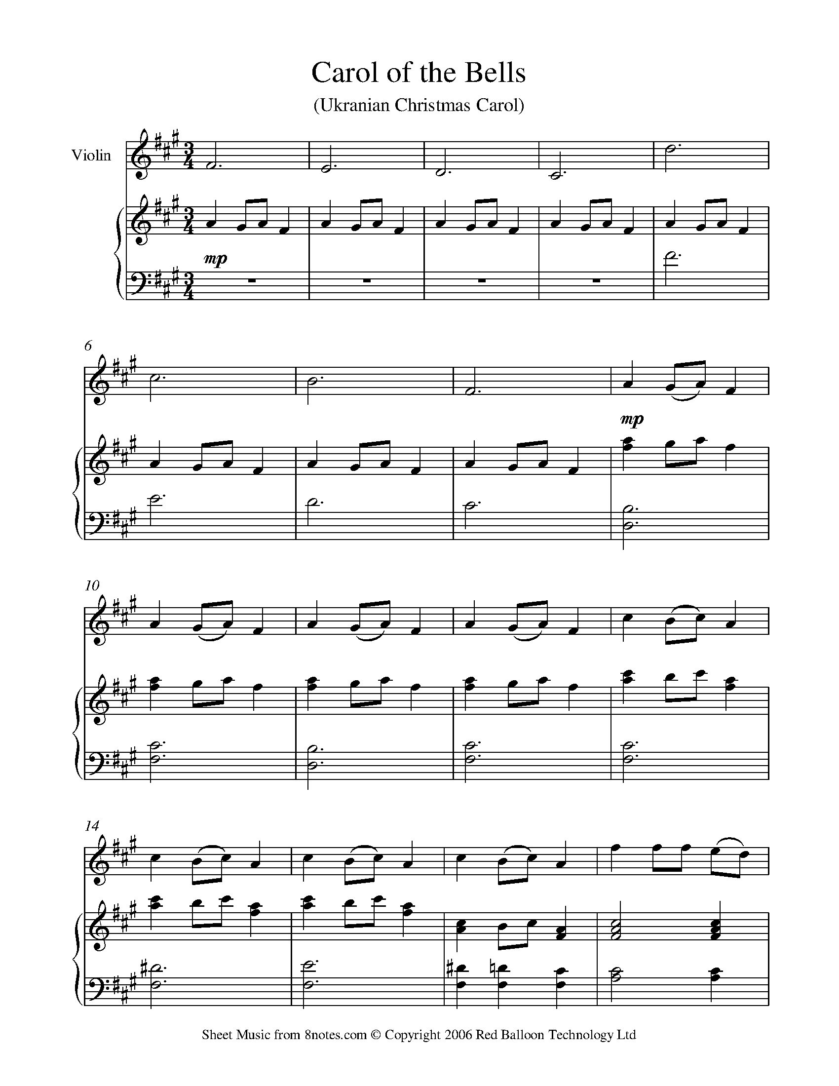 picture relating to Carol of the Bells Free Printable Sheet Music named Carol of the Bells sheet audio for Violin -