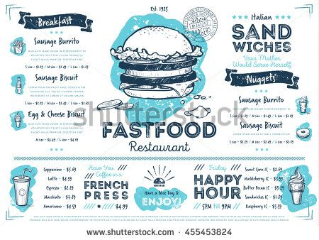 Fast Food Menu Design And Fast Food Hand Drawn Vector Illustration